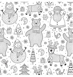 christmas seamless pattern for coloring page vector image