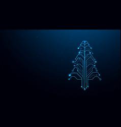 christmas tree circuit network digital technology vector image