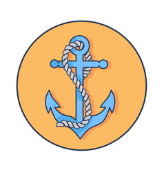 Circle banner depicting anchor with rope around it vector