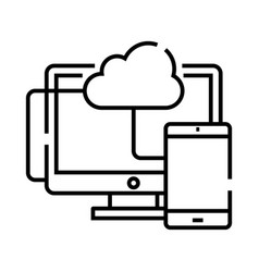cloud data synchronization line icon concept sign vector image