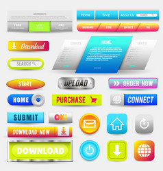 collection of web buttons elements set vector image