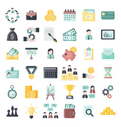 Colorful business themed flat icons set vector