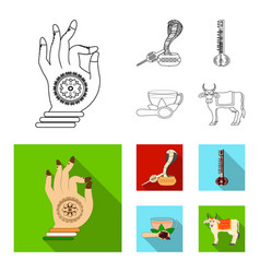 Country india outlineflat icons in set collection vector