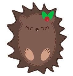 Cute cartoon hedgehog vector image