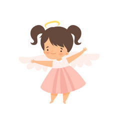Cute girl angel with nimbus and wings lovely baby vector
