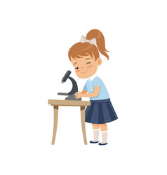 Cute girl using microscope at lesson pupil in vector