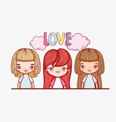 Cute girls with hairstyle and clouds with love vector