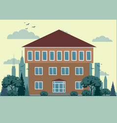 cute graphic private houses with city landscape vector image