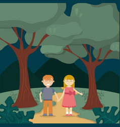 Cute kids in the forest vector