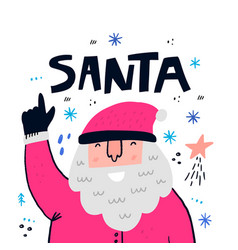 cute santa claus flat hand drawn character vector image