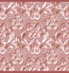 Damask floral seamless pattern light pink vector