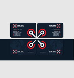 Dark business card with red drone vector