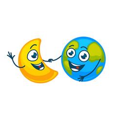Earth and golden moon with happy faces hold hands vector