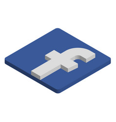 facebook logo isometric icon vector image