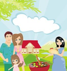 Family having barbecue in the garden vector