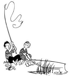 fishing boys vector image