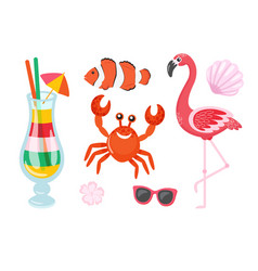 flamingo and crab cocktail and fish isolated set vector image