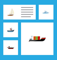 flat icon boat set of yacht cargo tanker and vector image vector image