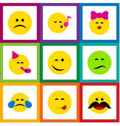 Flat icon emoji set of party time emoticon sad vector