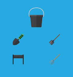 Flat icon farm set shovel pail barbecue and vector