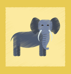 Flat shading style icon cartoon elephant vector