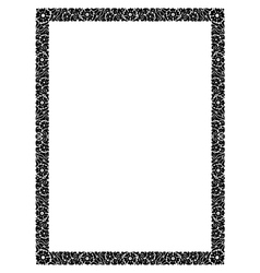 flower abstract black frame isolated vector image