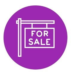For sale placard line icon vector