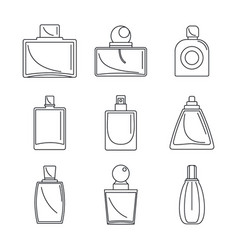 Fragrance bottles perfume icons set outline style vector
