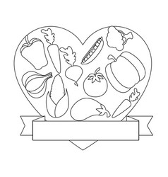 Frame in heart shape with vegetables icon vector