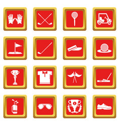 golf icons set red square vector image