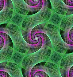 Green and purple repeating spiral fractal vector
