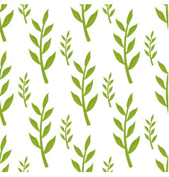 green stems and leaves seamless pattern on white vector image