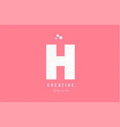 H pink white alphabet letter logo icon design vector