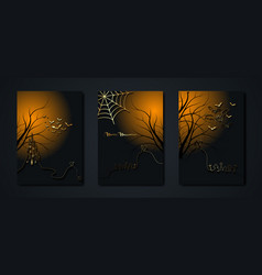 halloween party set gold cards spooky dark banner vector image