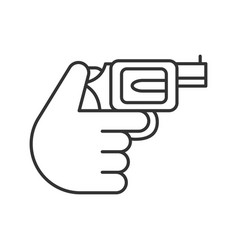 hand holding revolver linear icon vector image