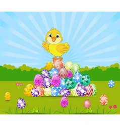 Happy Easter card with eggs and chick vector
