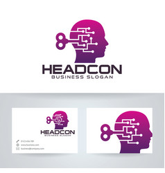 head control logo design vector image