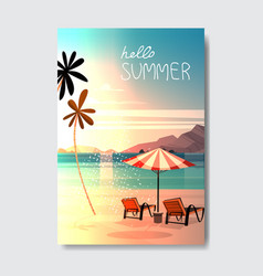 hello summer landscape palm tree beach umbrella vector image