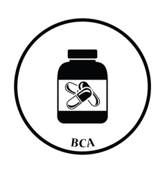 Icon of Fitness pills in container vector image