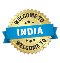 India 3d gold badge with blue ribbon vector