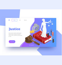 Isometric justice webpage background vector
