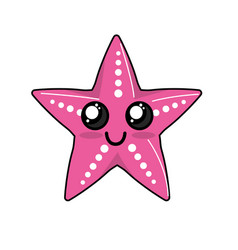 kawaii cute happy starsish emoji vector image