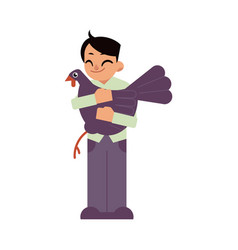 Kid boy hugging black turkey - flat cartoon vector