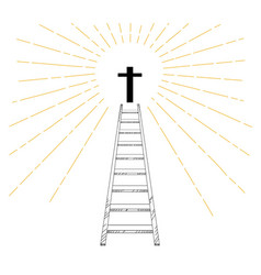 ladder up to christian cross with sun ray vector image
