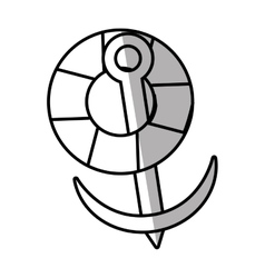 life buoy anchor nautical travel maritime line vector image