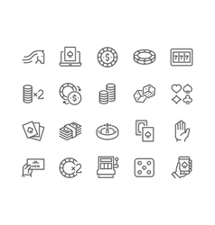 Line Gambling Icons vector