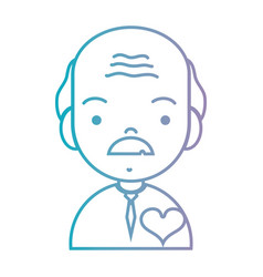 line old man with hairstyle and heart design vector image