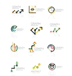 Linear graph and chart abstract logo set vector