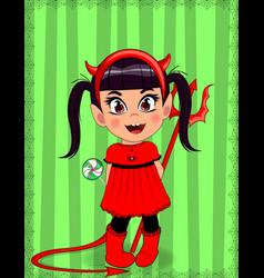 Little baby girl in red devil imp costume on vector