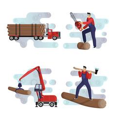 Logging loading and transportation wood logs vector